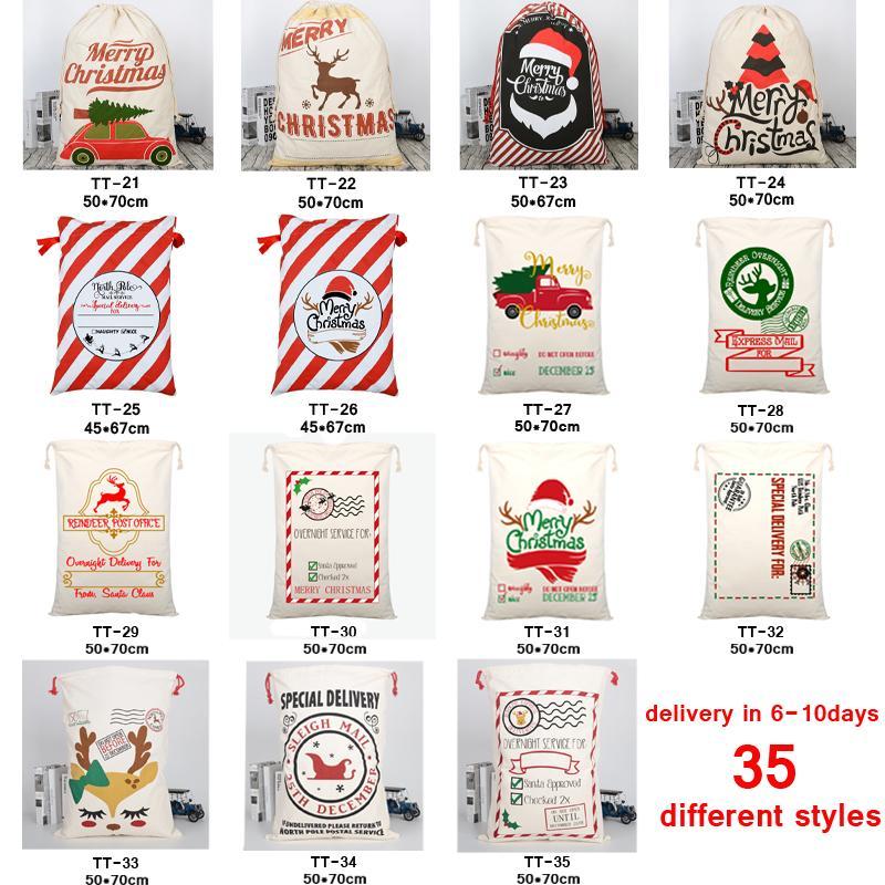 هدية عيد الميلاد حقائب كبير الثقيلة العضوية حقائب قماش حقيبة سانتا كيس الرباط حقيبة مع حيوانات الرنة سانتا كلوز كيس للأطفال