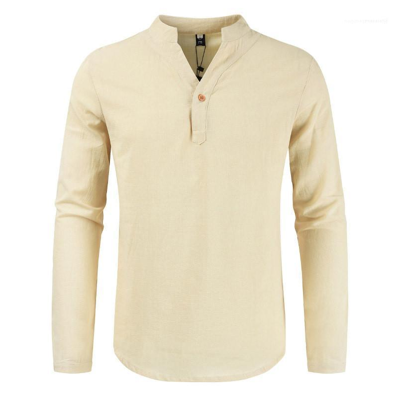 Vêtements décontractés Hommes col en V T-shirt à manches longues Boucle ras du cou en vrac Pull T-shirts Homme