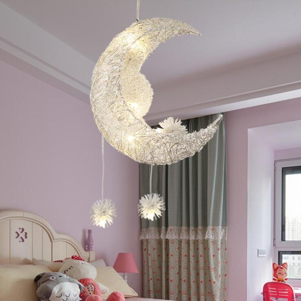 Creative Moon Stars Fairy LED Pendant Lamp Chandelier Ceiling Light Kids Children Bedroom Decoration Warm White