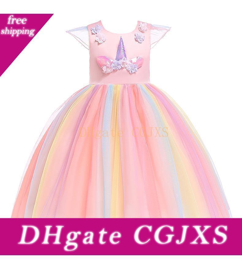 Vieeoease vestido de las muchachas del unicornio ropa de los niños 2019 de moda de verano del cordón del arco del tutú de princesa Party Dress Cc -132