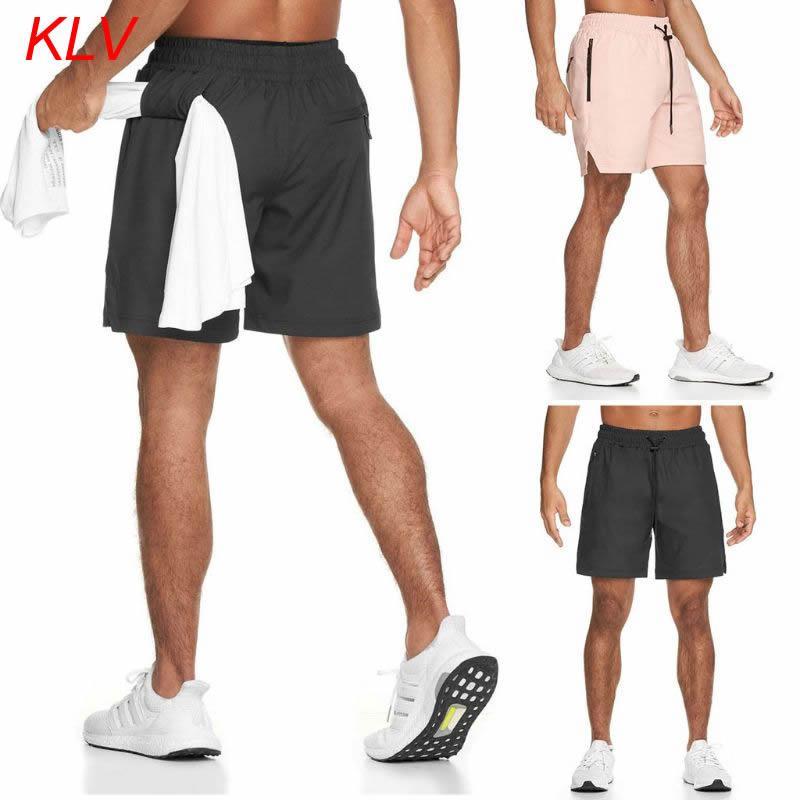 Los hombres de atletismo atlética de 2 en 1 pantalón corto deportivo gimnasio de entrenamiento Pantalones de secado rápido pantalón de entrenamiento con los bolsillos de lazo de toalla