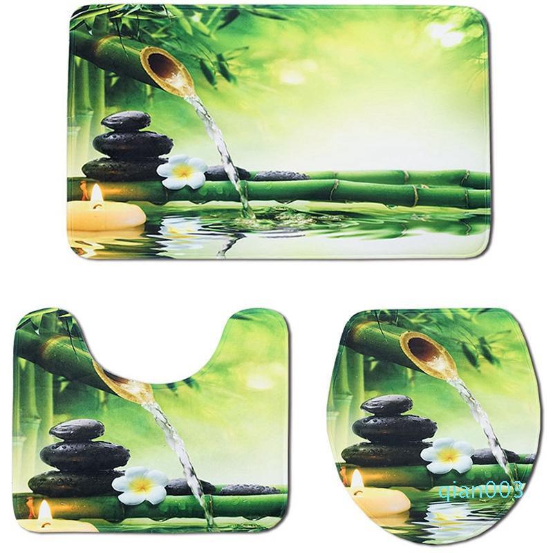 NHBR-3Pcs/Set Bamboo Print Non Slip Toilet Bathroom Pad Floor Mat Rug Carpet Absorbent Pedestal Rug Lid Toilet Cover Bath Mat