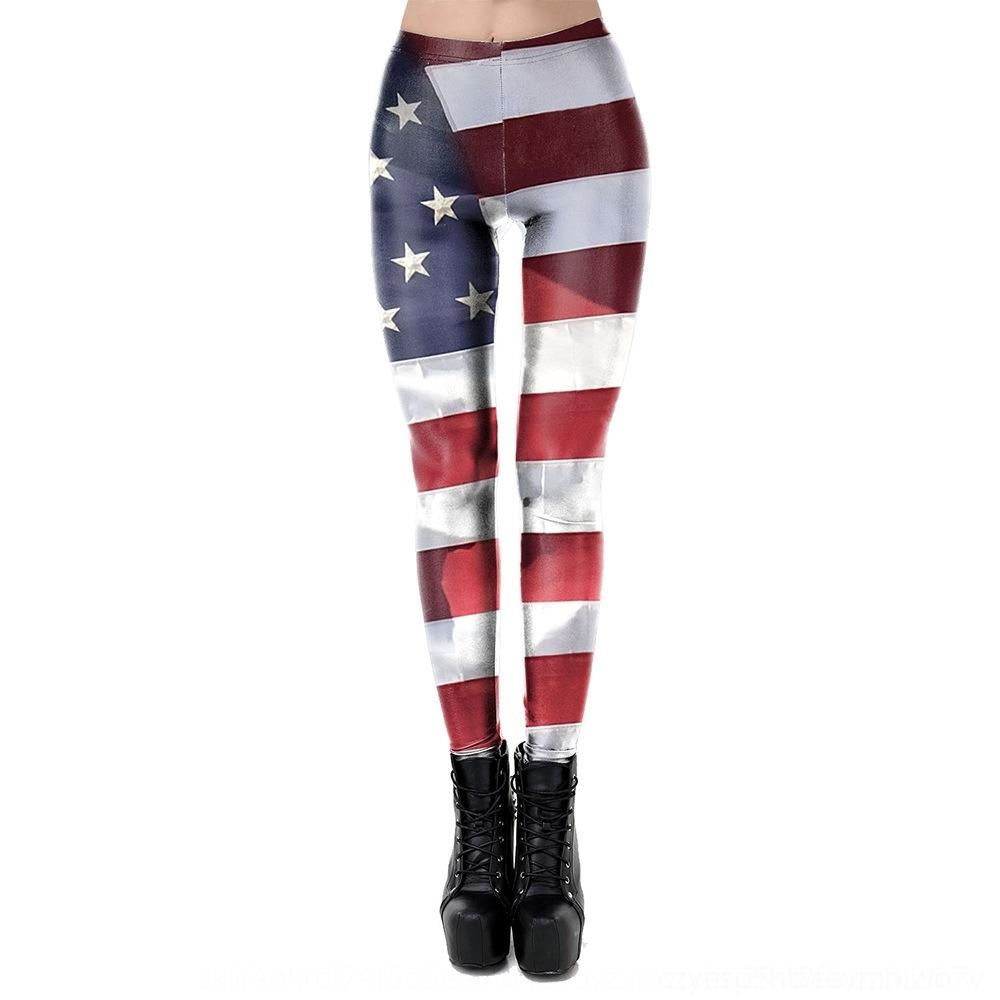 qnotL Spring American Summer new striped leggings Flag national flag all-match printed sports casual elastic tights tight pants and tight pan