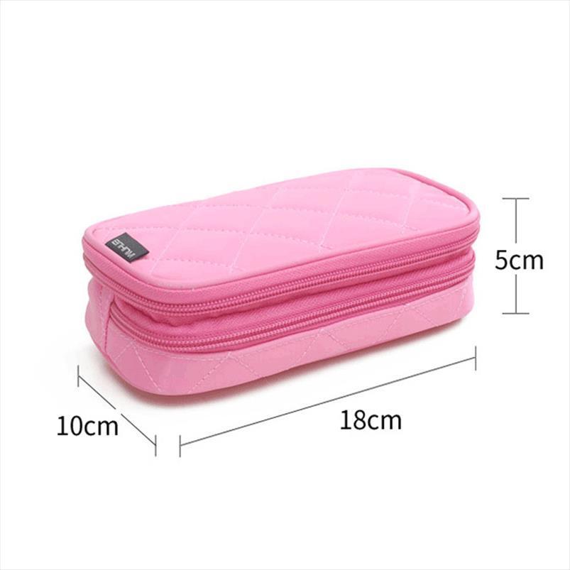 Novo Mini Ladies Cosmetic Bag Nylon Waterproof Carry armazenamento Wash Bag sobre a composição Bag Trumpet multifuncional caixa de lápis Rhombic
