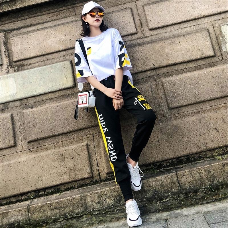5CS2a Hip 2020 alla moda fresca hop delle donne vestito di sport di estate nuovi allentato bello stile occidentale insieme a due pezzi T-shirt di moda T-shirt per il tempo libero