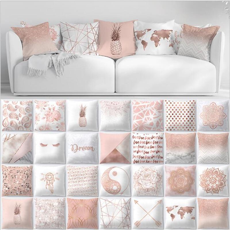 Geometrische Polyester Rosa Nordic-Platz Kissenbezug Dekorative Sofa Kissenbezug 45 * 45cm Kissenbezüge Wohnkultur