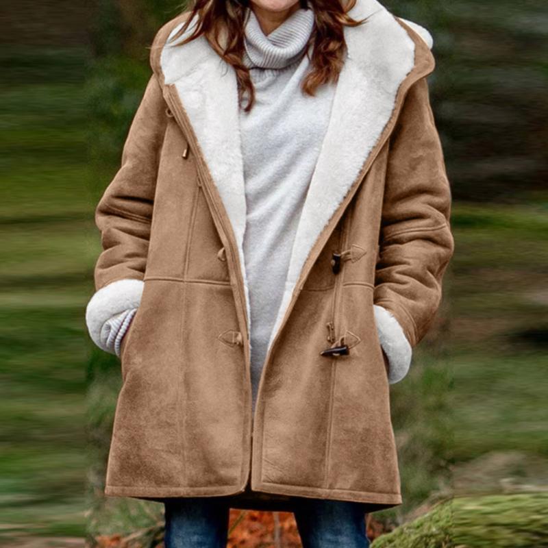 Hoodies Femmes d'hiver Ladies Coat Jacket Taille Plus solide épais manteau à manches longues Corne Boucle Pardessus avec vestes à capuchon de poche