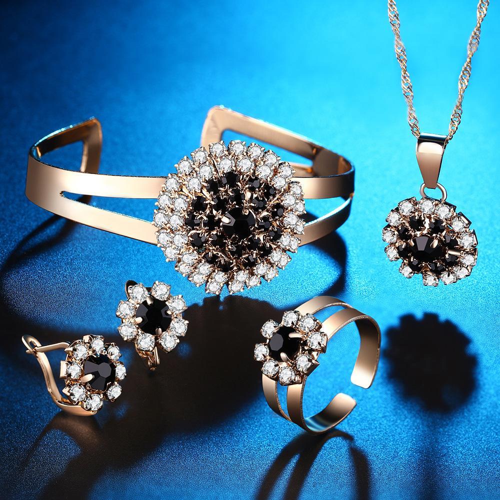 Conjuntos de collar aretes Anillo accesorios vestido de novia accesorios de la flor de Asuntos Exteriores pulsera Cuatro