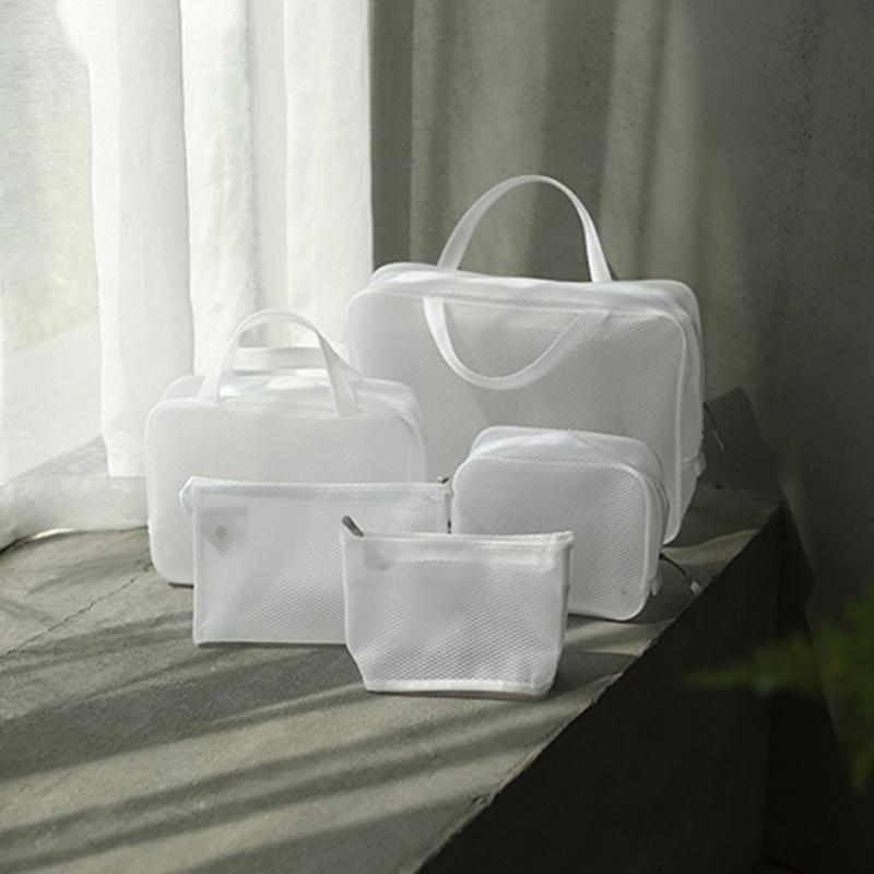 화이트 투명 메쉬 화장품 가방 방수 파우치 메이크업 가방 목욕 주최자 여행 세면 용품 케이스 워시 업 뷰티 키트 확인