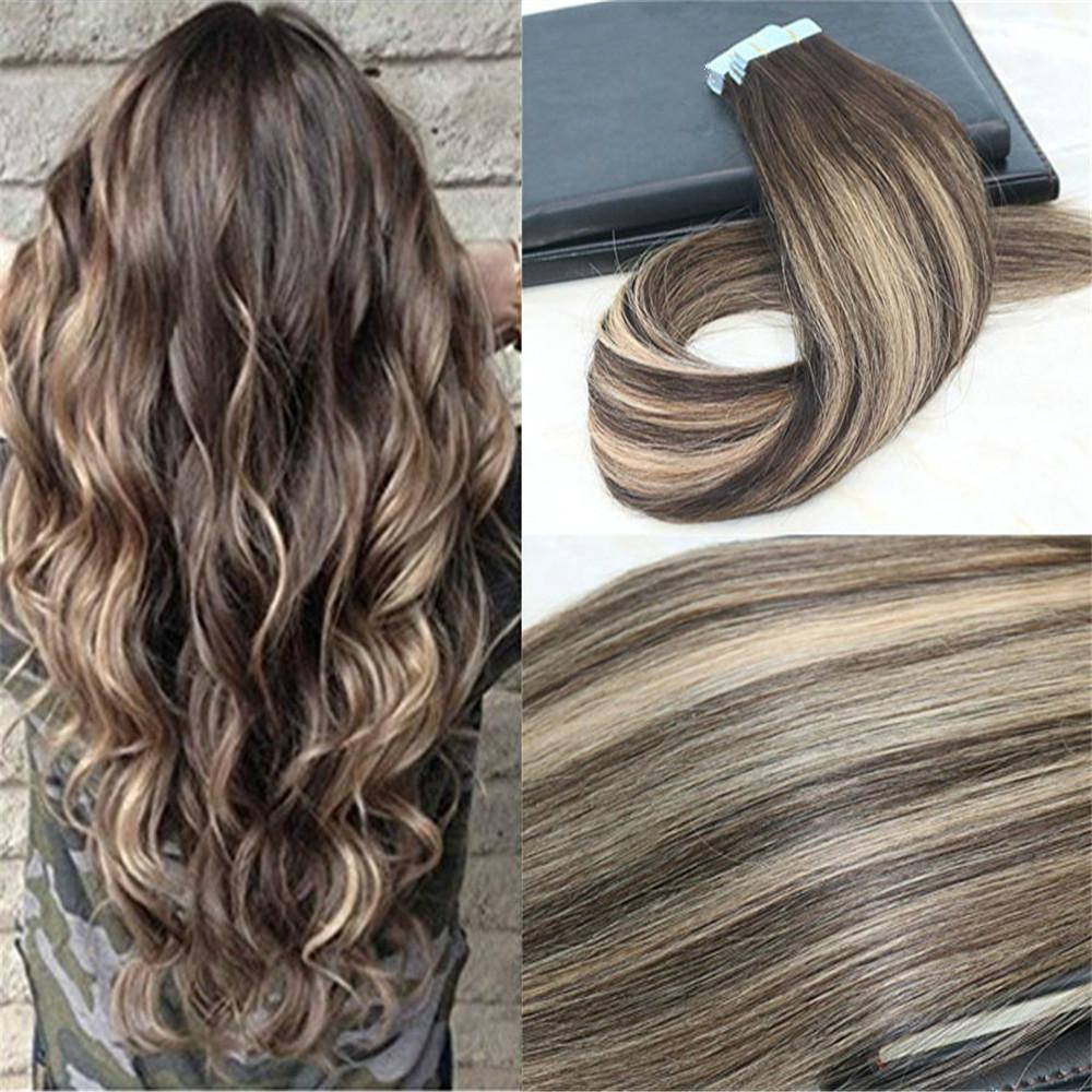 Remy Tape en extensiones de cabello Balayage Color Dark Brown # 2 Desvanecimiento a la rubia # 27 MIXTO # 3 UNCROCESSD Real Hairs sin costura 100 g 40pcs