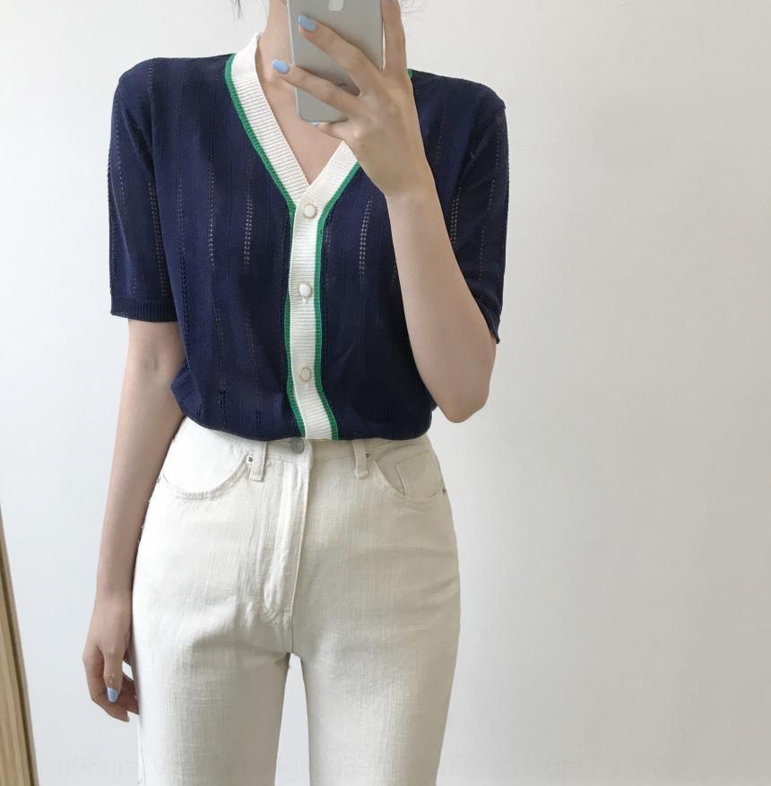 zVeoK 1SfAw 2020 нового Корейское пальто короткого пальто тонко- рукав шелк льда свитера футболка цвета тонкой полого T согласующей рубашка женщины модно