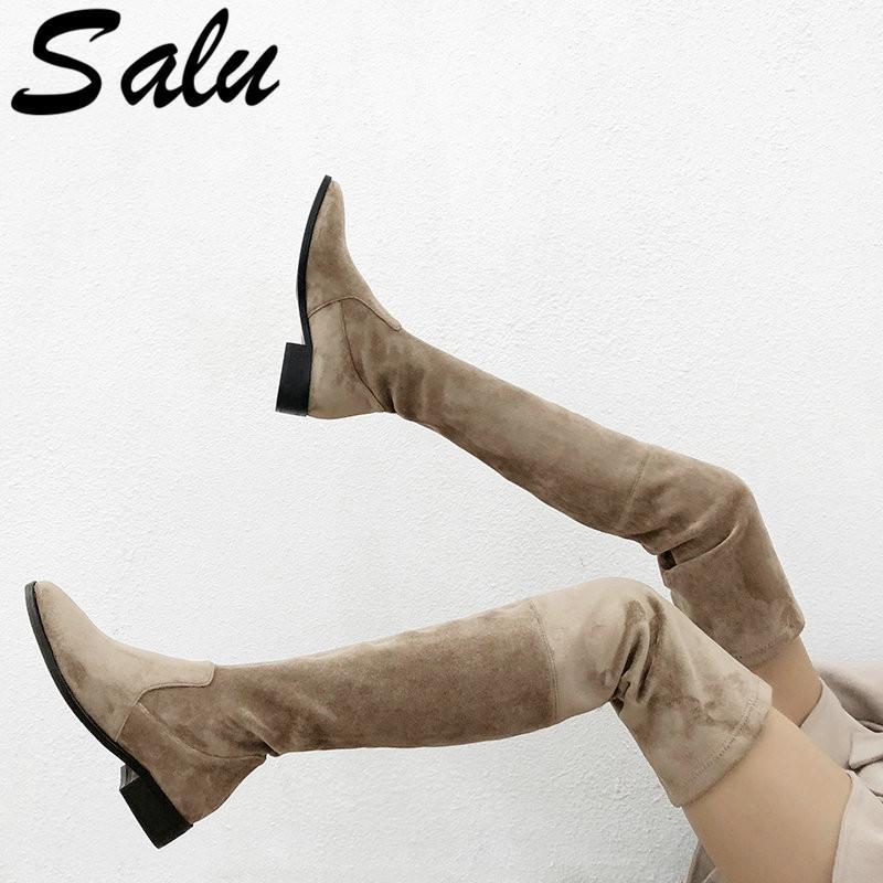 Salu 2020 над коленом High Boots Женщина замша кожа Толстые Низкие каблуки женщин сапоги осень зима черный серый партии обувь женщина