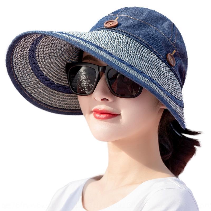 XD2Ys 2019 Sommer neue Sonne Straw gefälschte gefälschte Sonnenschutz im Freien großen Rand hohlen oberen Strohhut Klappstrandurlaub Hut für Damen