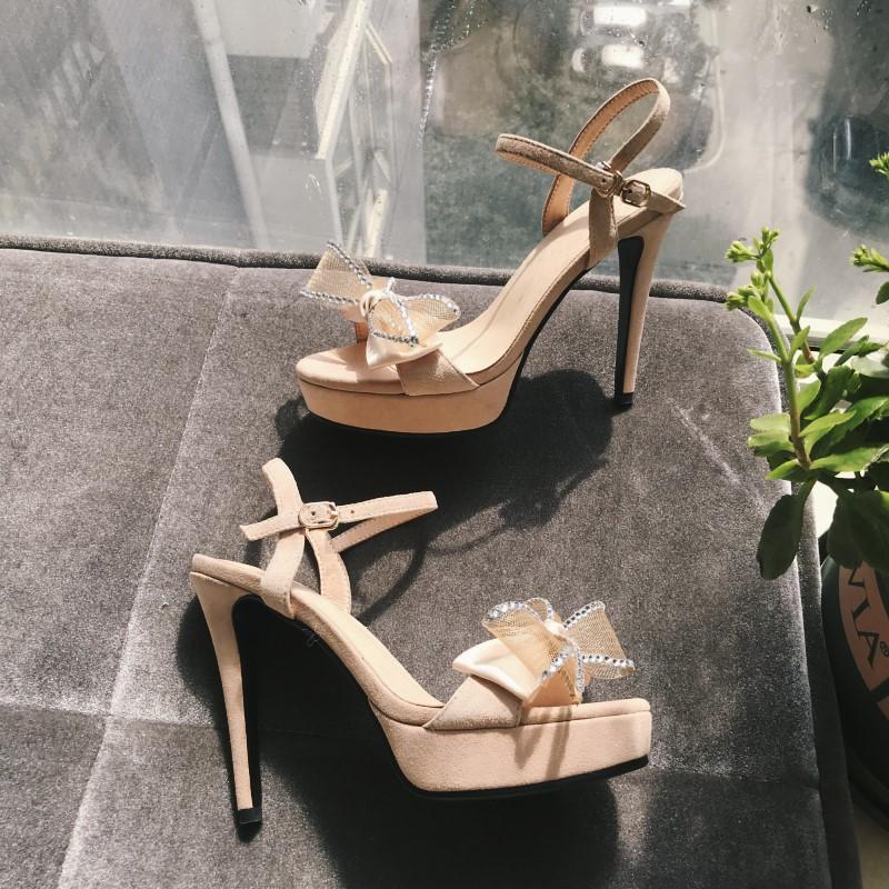 Comely2020 arco de las muchachas dulces de las mujeres atractivas sandalias con zapatos de la señora del cuero genuino de tacón bombas Zapato de Plataforma Negro verano Rhinestone