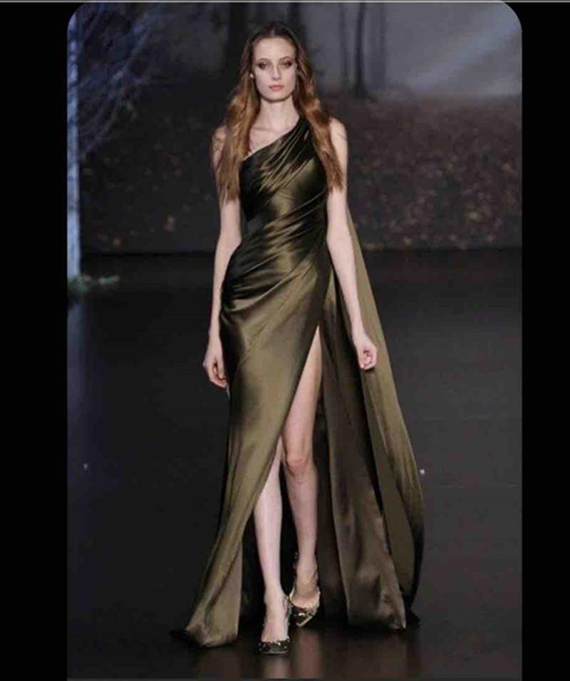 2020 New Runway Prom Dresses Long Side Split Sexy Vestidos De Novia One Shoulder Ruched Formal Party Evening Gowns