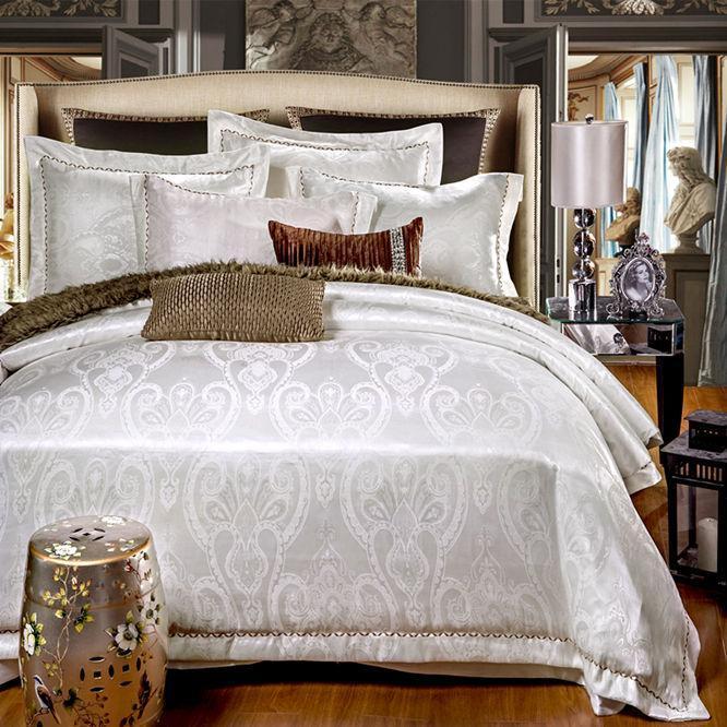 18 Luxury jacquard satin cotton/silk BEDDING bedding set /duvet cover SET /bed sheet