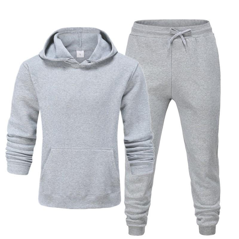 Setzt neue 2020 Markenanzug Mode Herren Sportzweiteiler Alle Baumwollfleece Thick Hoodie + Hosen Sportanzug Mann Größe XXXL T200821