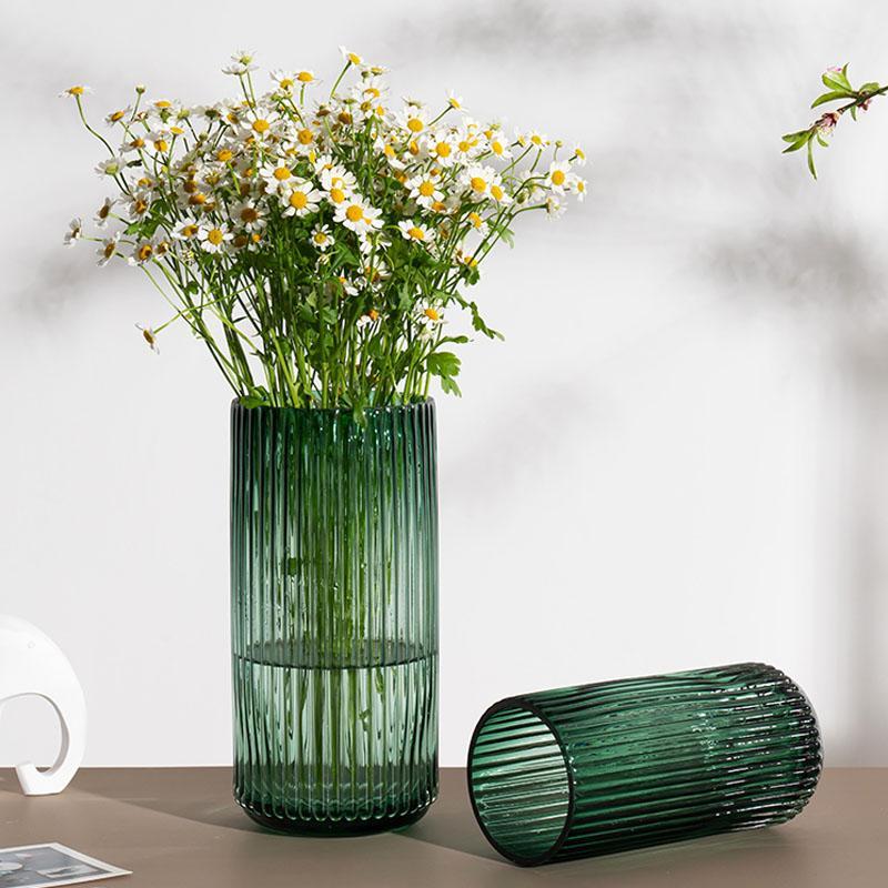 Presente Nordic minimalista cilíndrica de vidro do vaso Decoração Habitar Flower Quarto Arranjo macio da flor Decoração hidropônico Dispositivo