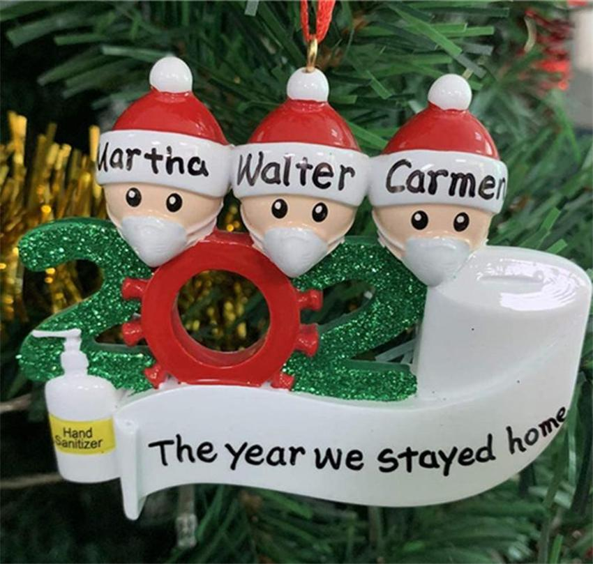 2020 Quarantine Christmas Decoration Wedding Party Gifts Product Personalized Family Of 3 Ornament Pandemic with Face Masks Hand Sanitized