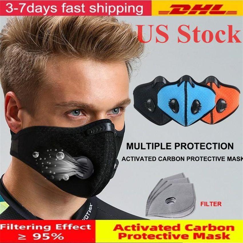 EEUU Stock Activado mascarilla de carbono de ciclo con el filtro de PM 2.5 Anti-Polvo de Deporte de la máscara de Formación del camino de MTB Bike Protección del envío de DHL