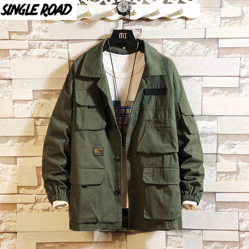 SingleRoad para hombre de la chaqueta de los hombres de Carga 2020 Harajuku otoño Hip Hop escudo de grandes dimensiones japonesa Streetwear verde chaquetas para los hombres Casual