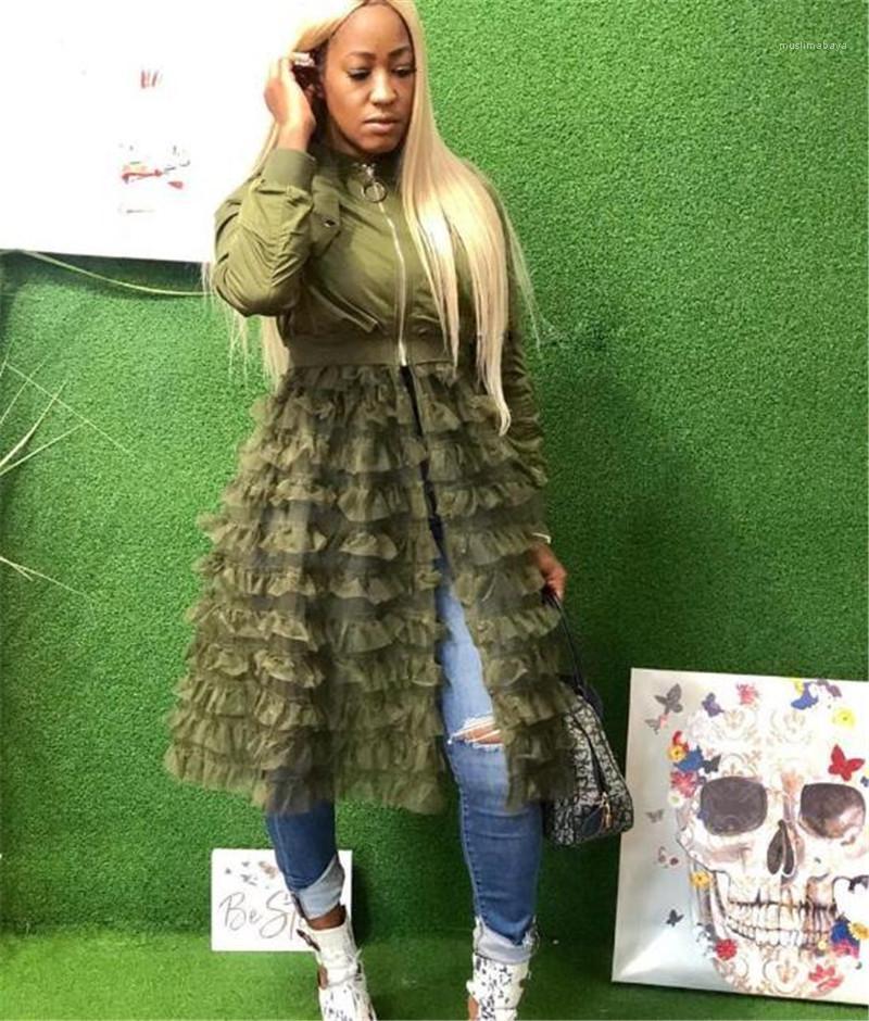 Renk Coats İlkbahar Sonbahar Bayan Giyim Kadın Tasarımcı Uzun ceketler Fermuar Gazlı bez Kasetli Ceket Katı