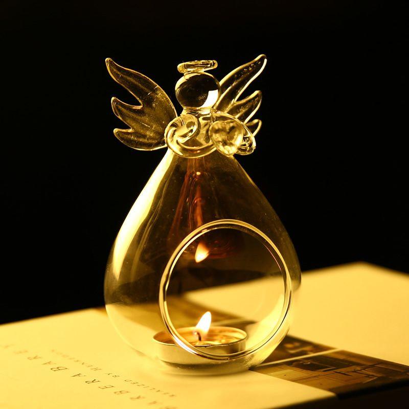 Romântico Anjo Castiçal Crystal Glass Candle Decoração Hanging Wedding Party Lanterna Luz Tea Candlestick Burner vaso DIY