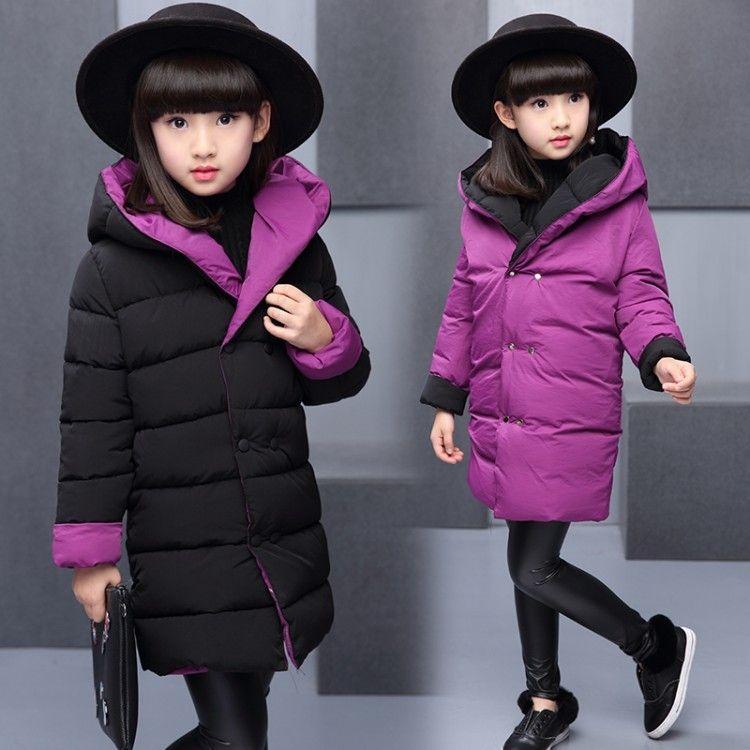 OLEKID Automne Veste d'hiver pour les filles à capuchon réversible coton filles Parka 5-14 ans Enfants Habineige Adolescents Filles Manteau d'hiver