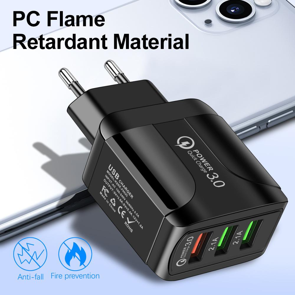 الولايات المتحدة الاتحاد الأوروبي التوصيل UK 3 USB جدار شاحن 5V 3A LED محول السفر مريحة محول الطاقة مع منافذ USB ثلاثية QC3.0 الشحن السريع