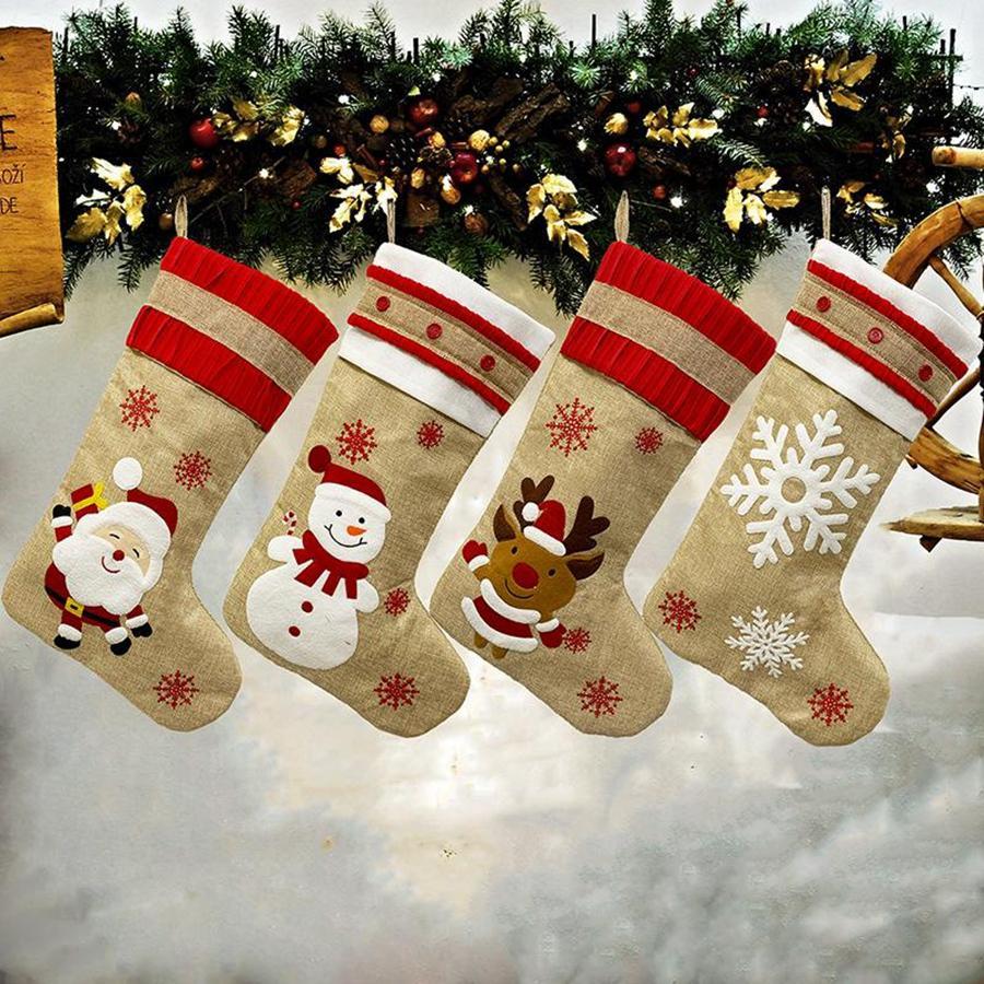 Regalo de Navidad Santa Burlap 18.8 pulgadas Bolsas Familia Cuff Reno Paquete Medias Medias Partido Navidad vacaciones DDA473 Decoración Muñeco de nieve PhDod