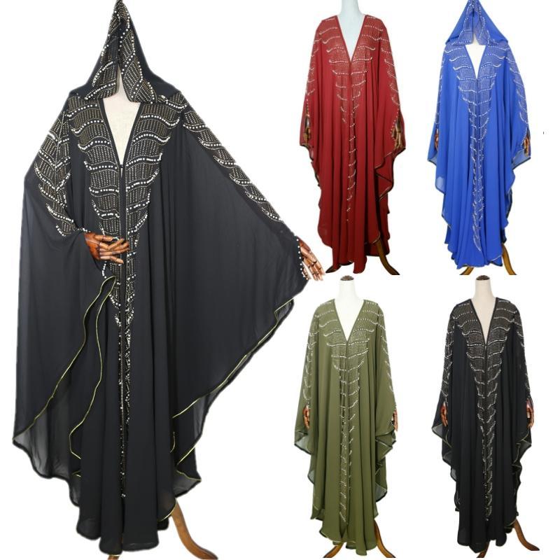 Los diamantes mujeres musulmanes Islámica palo de la manga vestido de gran tamaño Kaftan Abaya Turco Árabe gasa vestido de túnica