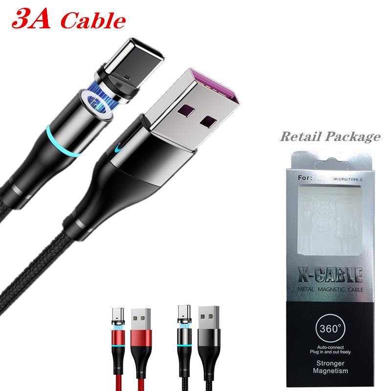 Magnetischer Kabeltyp C / Micro USB-Kabel 3A Schnellladekabel Schnellkabel für Samsung S20 Note10 mit dem Einzelhandelspaket