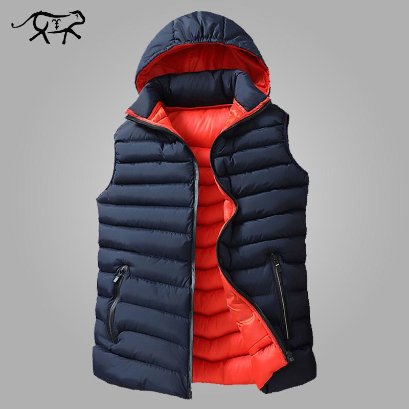 Mens зима рукава куртки мужчина вниз жилет для мужчин Теплого Толстого капюшон Пальто Мужского хлопок-проложенной работа Жилет Gilet Homme Vest 8XL