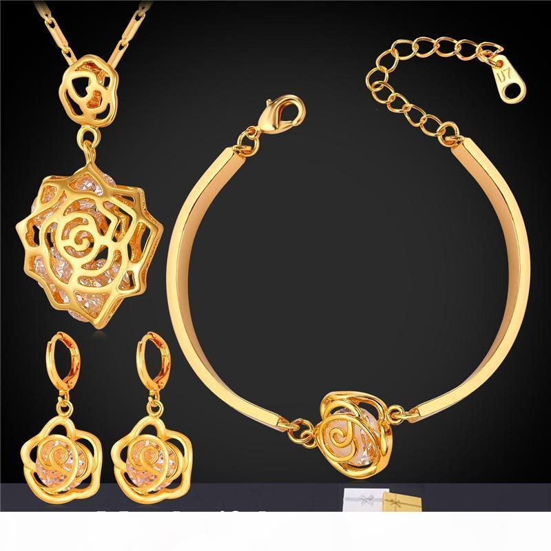 Gioielli Elegante Rose collane dei pendenti dei braccialetti di fascino orecchini di goccia 18K placcato oro zirconi partito