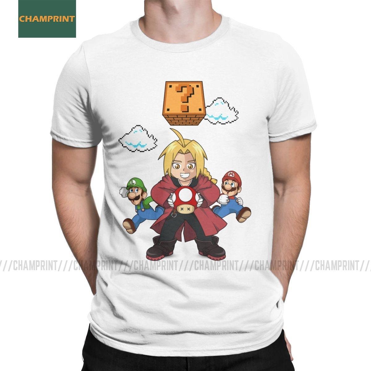 Uomo T-shirt Super Elric Brothers Fullmetal Alchemist cotone Tees manica corta Elric Edward Anime Manga Fma Arakawa T Shirts