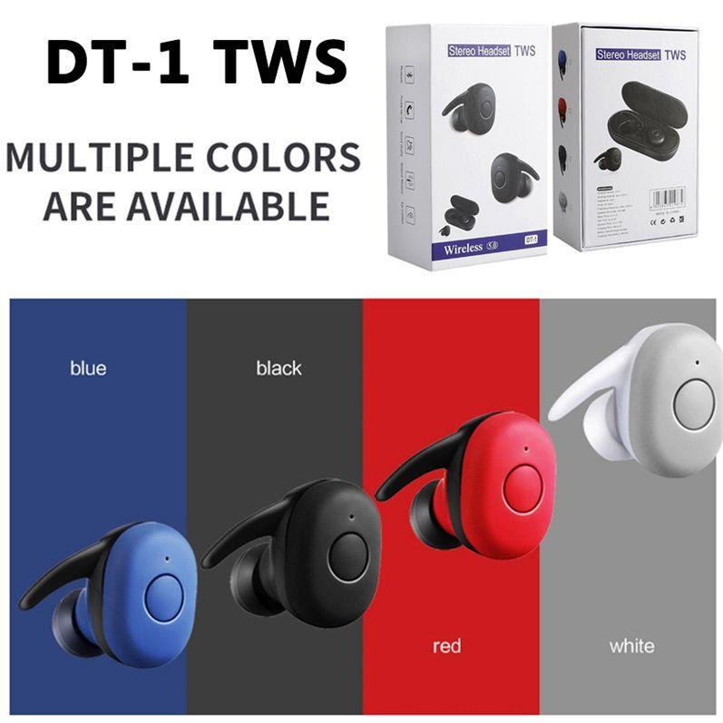Tragbare DT-1 TWS Kopfhörer Wireless Mini Earbuds Bluetooth Hörmuscheln Mobil-Stereo-Musik HeadphoneBuilt-in Mic Auto Pairing-Kopfhörer DHL
