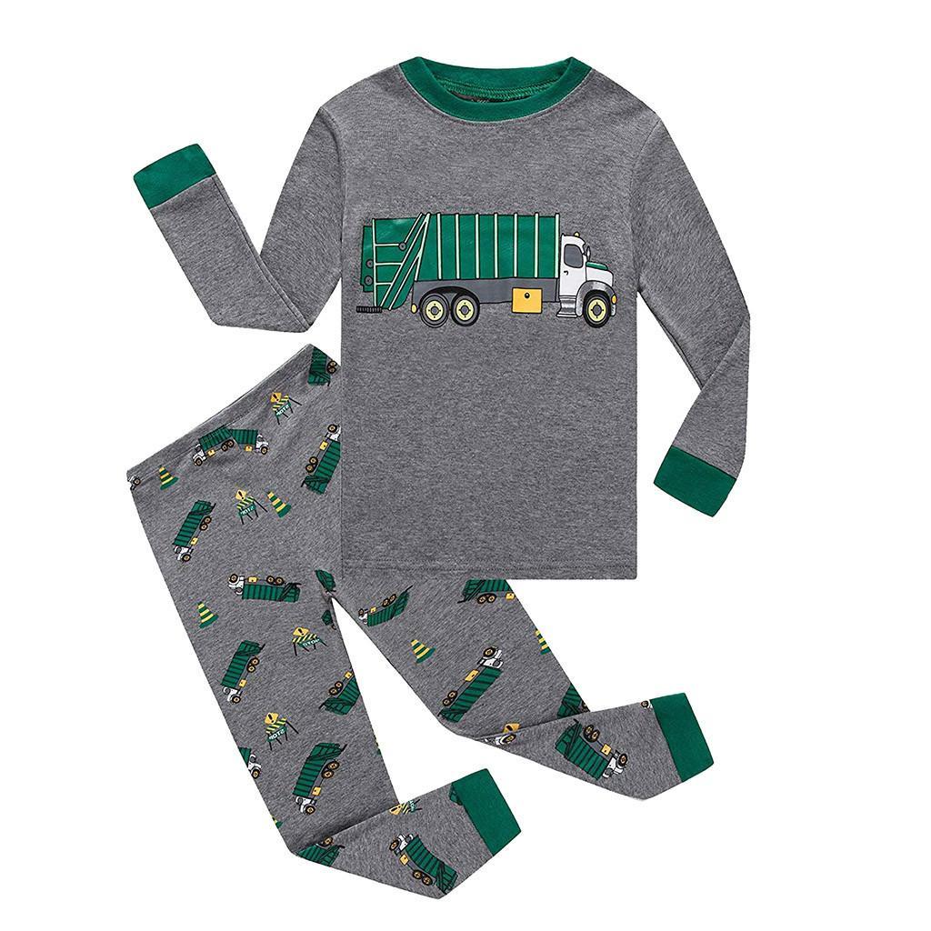 Liquidazione Amabili 2 pezzi del bambino del bambino della ragazza dei ragazzi lungo Car manica Stampa di tops + pants Pajamas Sleepwear Outfit Z01228