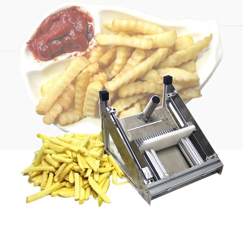 La venta de patata tiras de patata francesa Fry cortador cortador de acero inoxidable Lámina serrada rebanar las frutas patata acceso por la tajadera
