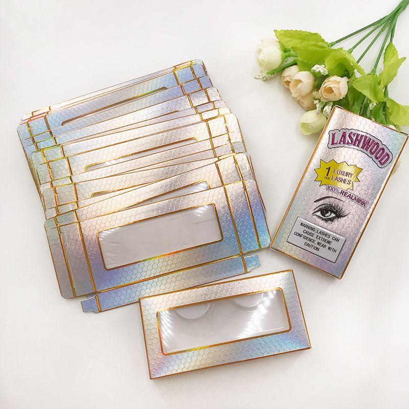 Boîtes à cils de papier doux Lashwood cils Box Emballage vide Fit 25mm 27mm Long Long Lash