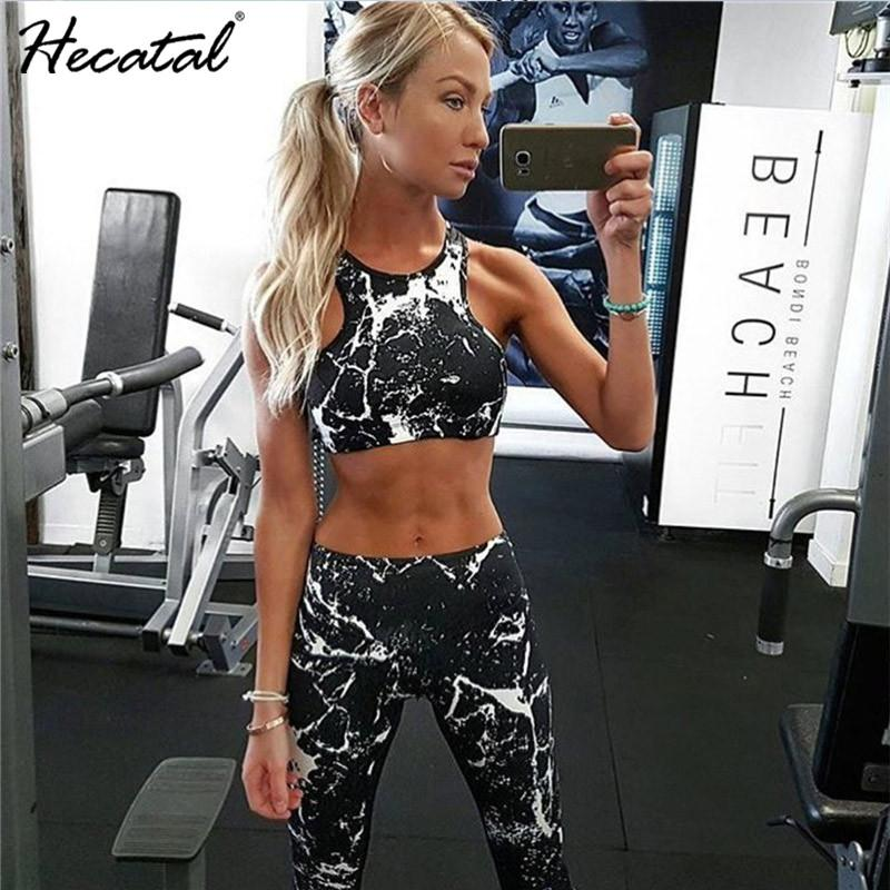 Heeatal Sexy Crop Tops + Leggings Sportswear Two Piece Outfits Women Pants Tight Tracksuits Running Printed Workout Clothes