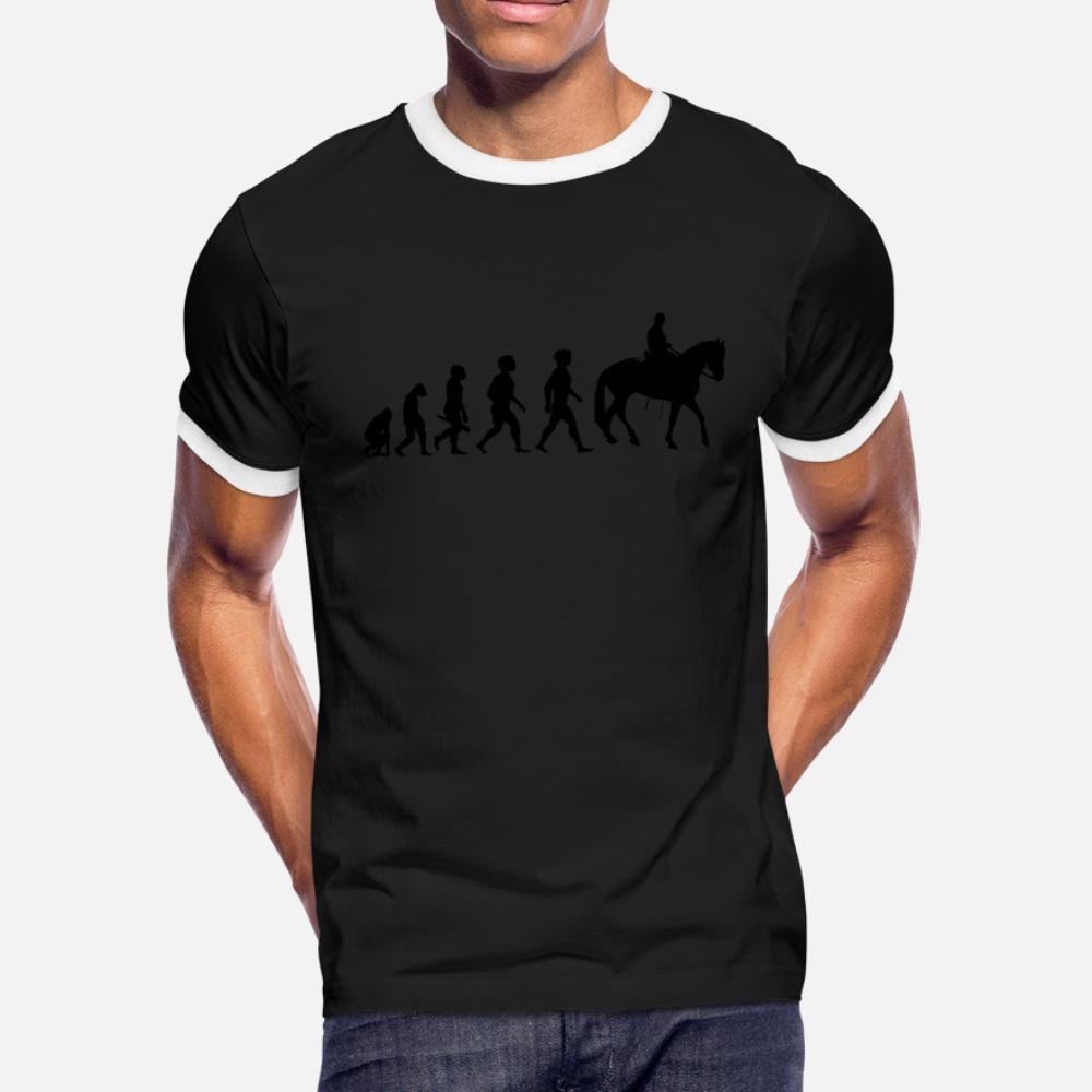 reiten reiter Evolution pferde reitsport Cowboy2 T-Shirt Männer kurze Hülse S-XXXL dünnes Geschenk Grund Frühlings-Herbst-formales Hemd