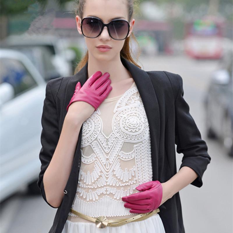 Écran tactile moitié Palm 100% Gants en cuir véritable femmes en peau de mouton Boîte de nuit Palm Performance Gants de conduite pleine doigts