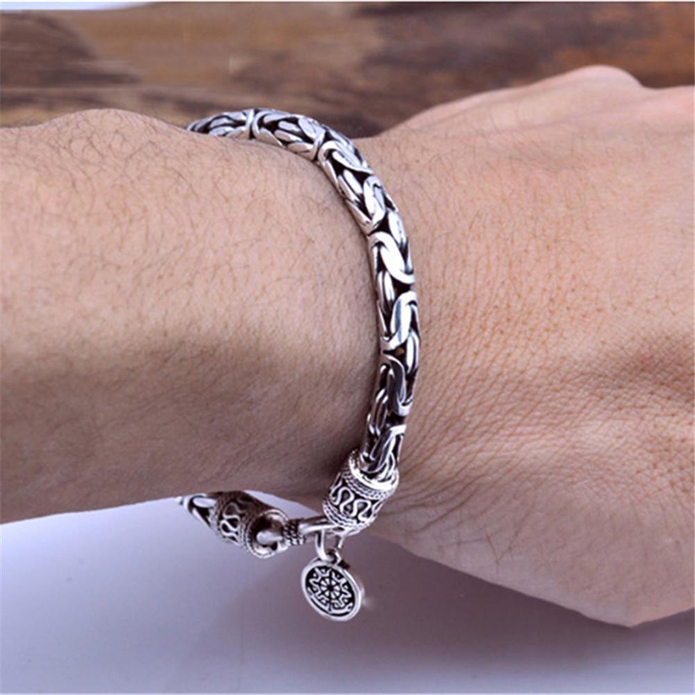 GAGAFEEL Autentico 100% reale puro argento 925 gioielli uomini bracciali testa del drago d'epoca Thai Argento Uomini Belle gioielli Y200810