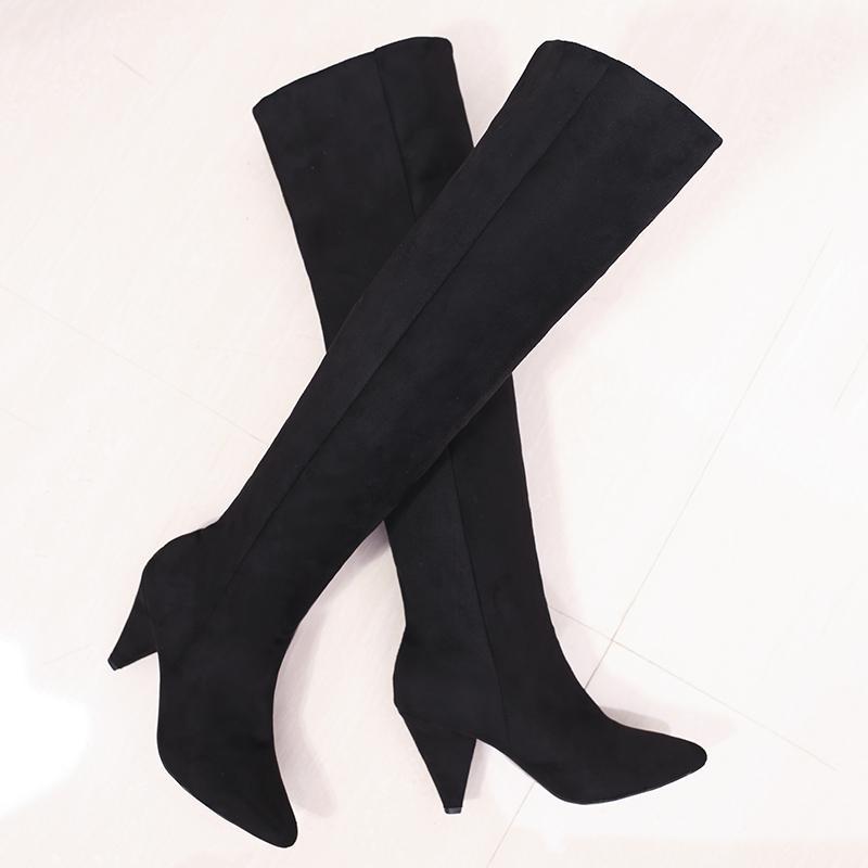 2020 Mujeres Blov Boots Largos Spike 8cm Tacones altos Tacones de moda Fetiche Fetiche sobre la rodilla Botas altas Stripper Winter Warm Party Zapatos