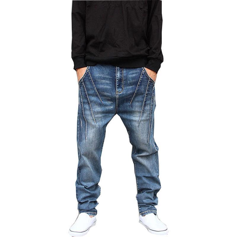 pies pantalones de Hip Hop del verano flojo de los nuevos hombres del estiramiento de los pantalones vaqueros de los hombres de No incorporar los pantalones de gran tamaño de los pantalones Harem Tamaño L-6XL