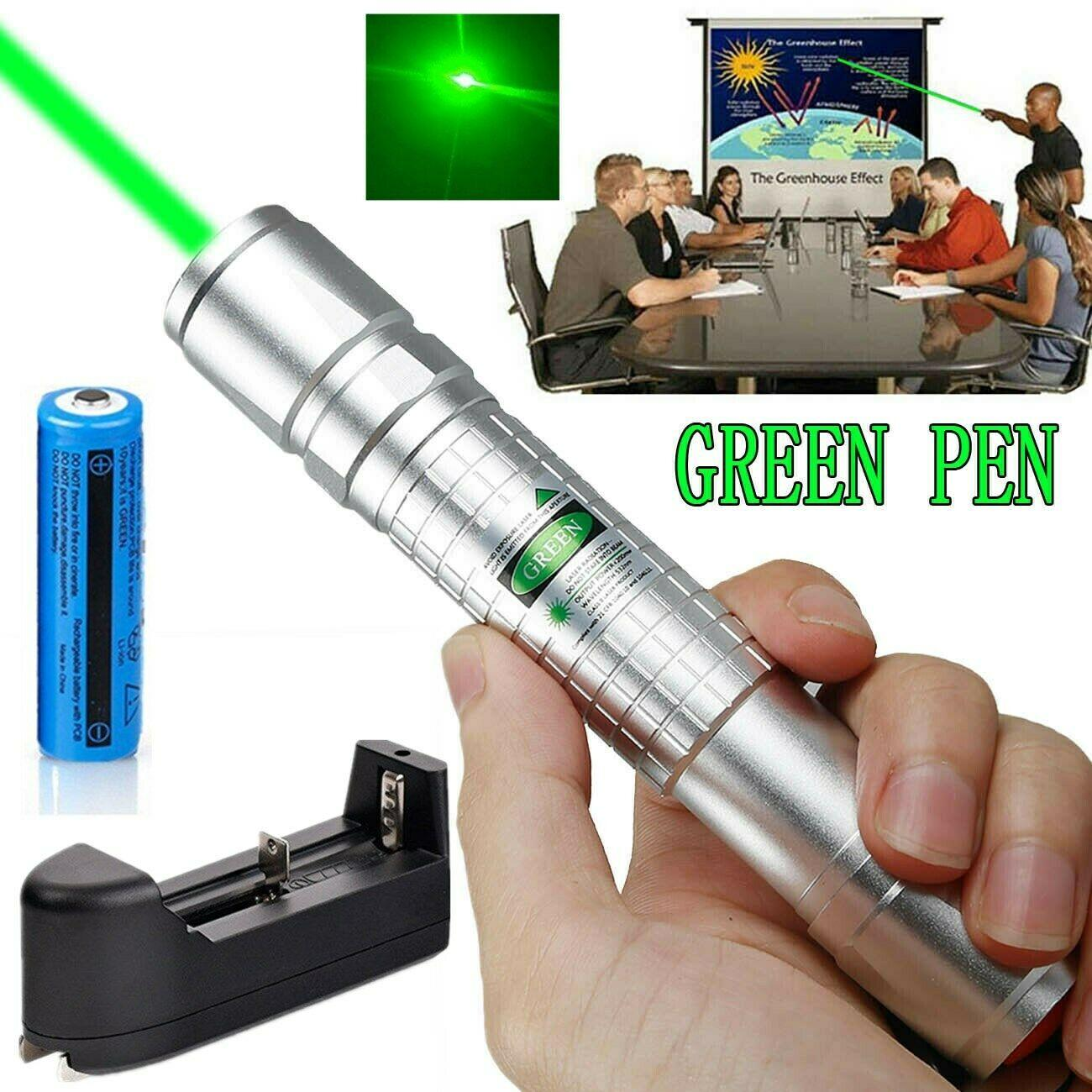 Powerful Green Laser Pen Pointer 1mw 532nm Visible Beam Light Green Laser Pen Cat Toy + 18650 Battery + Charger