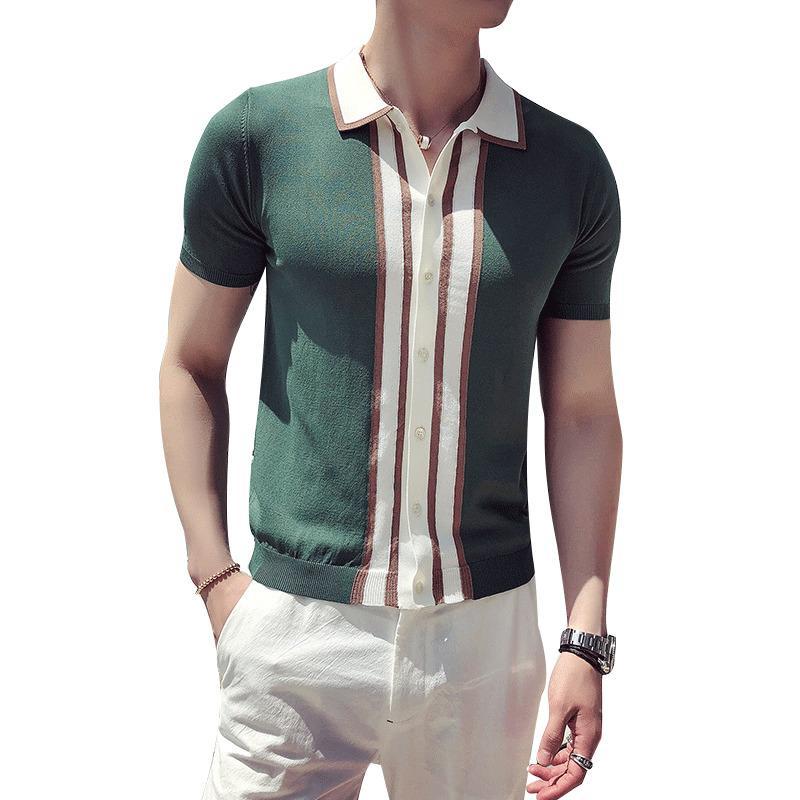 Контраст Knit Stripe Shirt британский Мужчины моды с коротким рукавом Камиза Masculina Playera Hombre Черный Зеленый