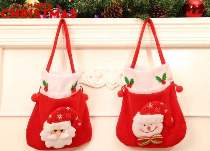 Hot jardin fête mignon Père Noël Bonhomme de neige Bonbons Sacs cadeaux Cookie Emballage Sacs à main Party Joyeux Noël Ensemble rangement