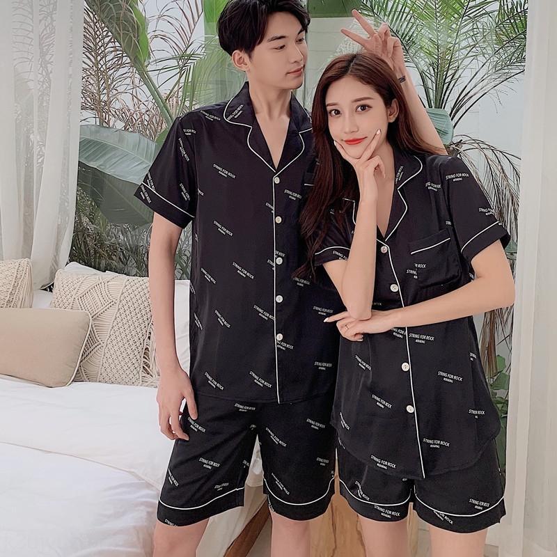 G9B5H 1PZR0 Couple à manches courtes Été Pyjamas et sous-vêtements 2020 et shorts Lettre de la soie de glace imprimée ins métrage ins