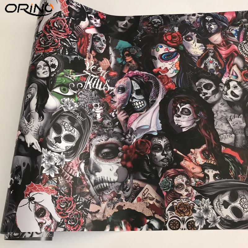 Graffiti Sugar Skull Sticker Bomb Sheet JDM EURO DRIFT Laptop Motorcycle Scooter Skateboard Decal Wrap with Air Release Bubbles Free